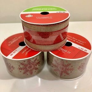 (#RBCH13) THREE SPOOLS OF CHRISTMAS RIBBON